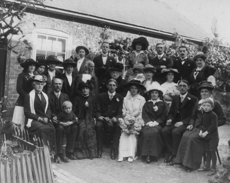 Wedding photograph of Priscilla Annie Viner and Albina Ernest Winn. 1914