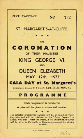 Programme for St Margaret's celebrations for the Coronation of King George VI. 1937