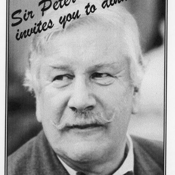 Dinner and entertainment with Sir Peter Ustinov to raise funds for the Village Hall. 1999