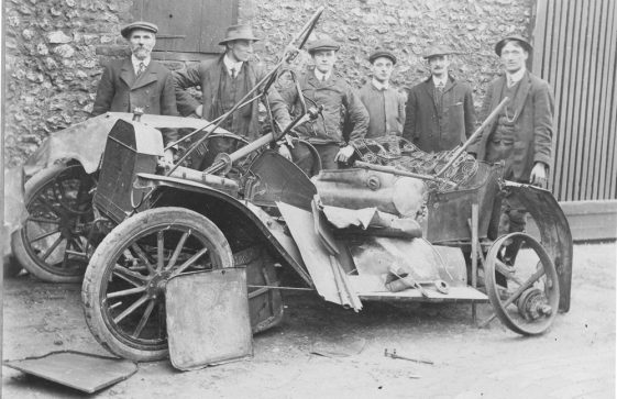 Winn family members and others around wrecked car. Kingsdown Road