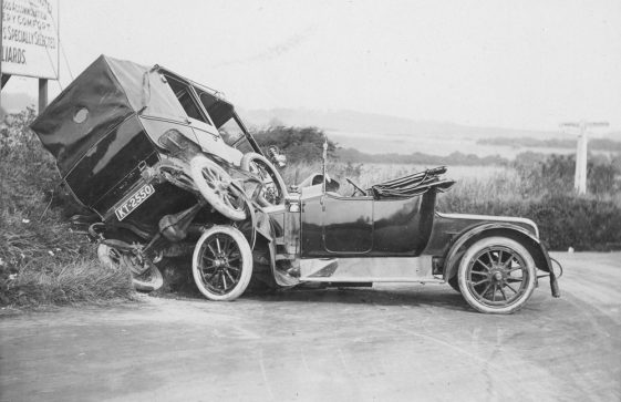 Winn Family Model T Ford taxi in collision with another car at the Sea Street/Deal Road junction.