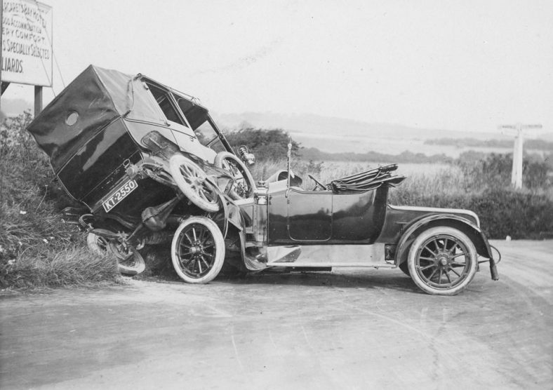 Winn family Model T Ford taxi in collision with Model T Ford Runabout