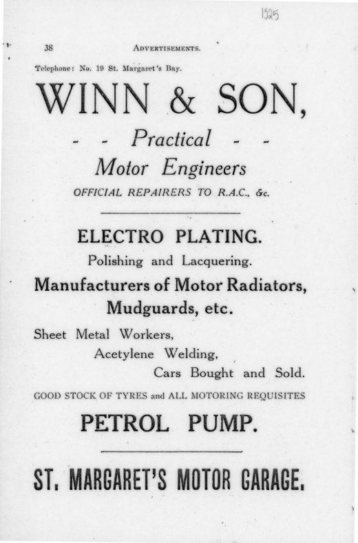 Advertisement for Winn & Son's Garage (1925)
