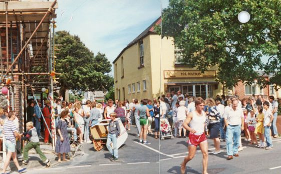 St Margaret's Pram Race from outside The Red Lion. 1988