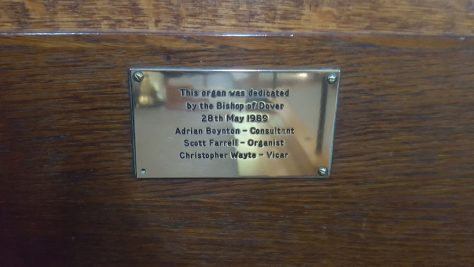 Plaques recording restoration and renewal of the pipe organs in St Margaret's Church