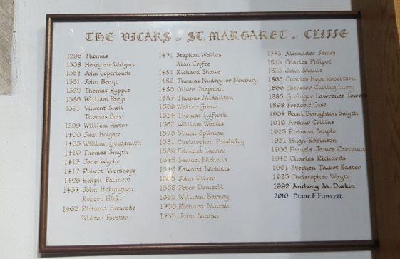 List of Vicars of St Margaret's Church 1296 - 2010