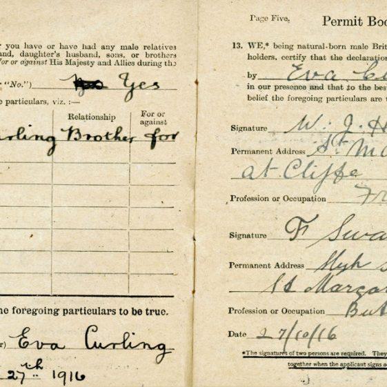 Eva Curling - Defence of the Realm Permit Book No.130270