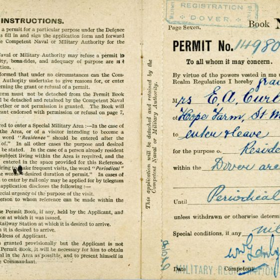 Edith Curling - Defence of the Realm Permit Book No. 130269
