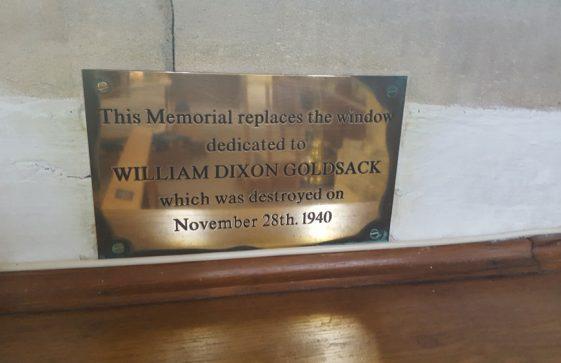 Memorial to GOLDSACK William Dixon