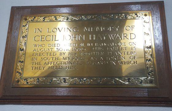 Memorial to HAYWARD Cecil John 1920