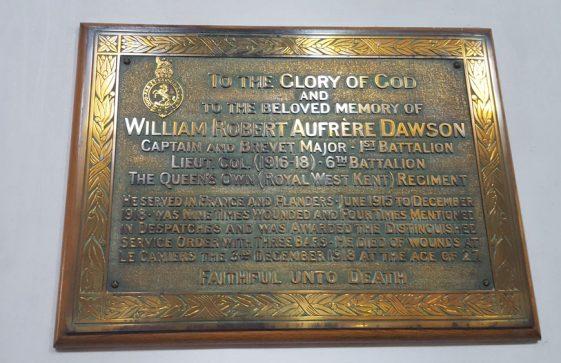 Memorial to DAWSON William Robert Aufrere 1918