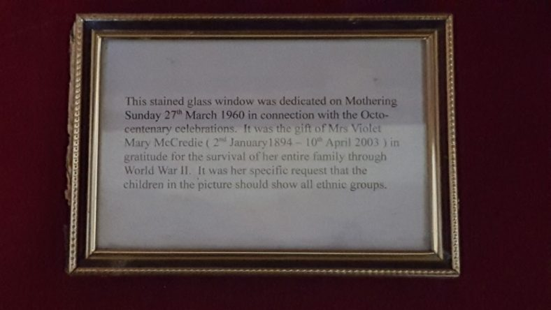 Window Commemorating Survival of a Family During WWII and Mrs. V. M. McCredie 1894 to 2003