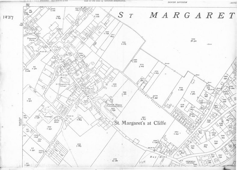 OS Map 1937 showing centre of St Margaret's at Cliffe