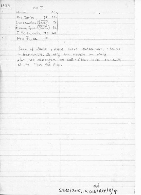 List of names on ARP Duty Roster 1939 - 1945 St Margaret's