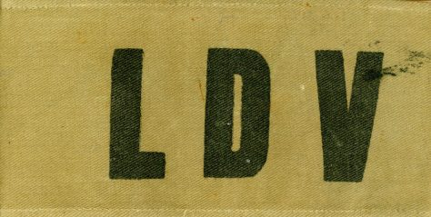 Khaki armband marked LDV as worn by Local Defence Volunteers