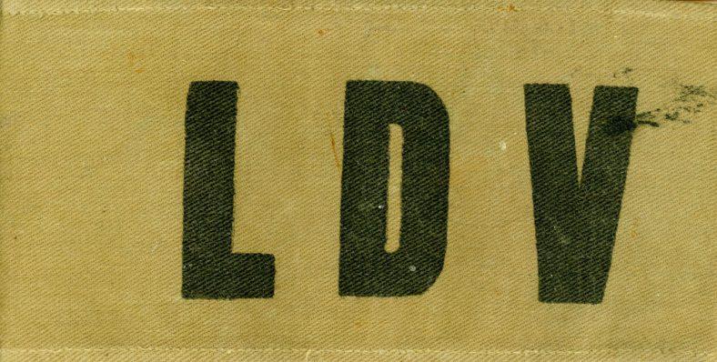 Khaki armband marked LDV as worn by Local Defense Volunteers