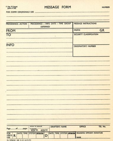 Pad of blank WW2 message forms