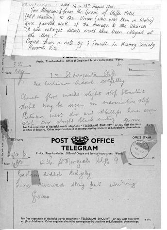 ARP Warden Groves telegrams to St Margaret's Vicar in Wales concerning damage to church.