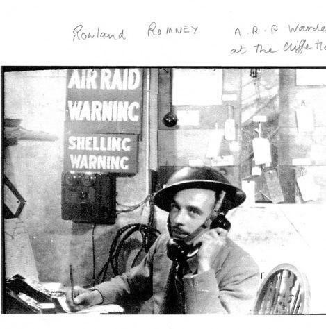 ARP Warden Rowland Romney on duty at the Cliffe Hotel