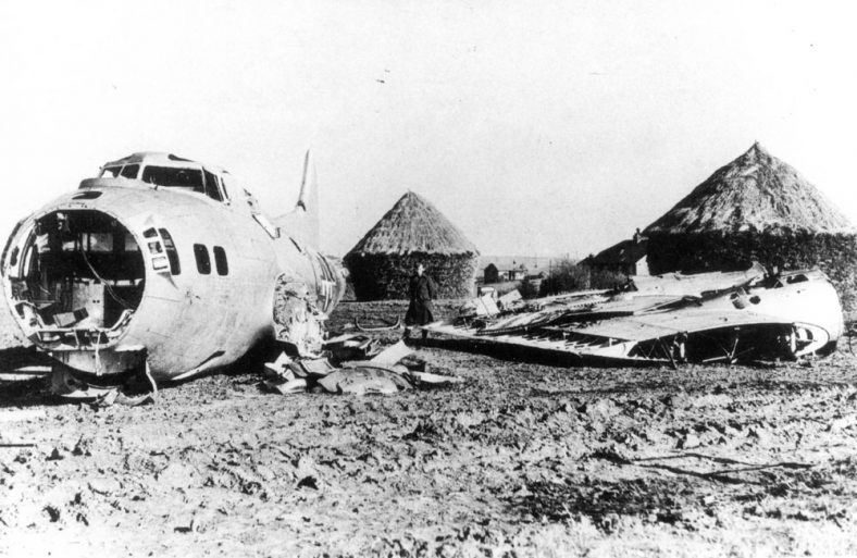 Flying Fortress Bomber which crashed safely near Nelson Park in January 1945