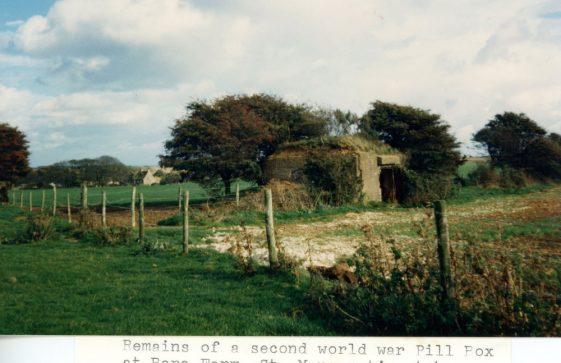 Remains of Pill Box at Bere Farm October 1986