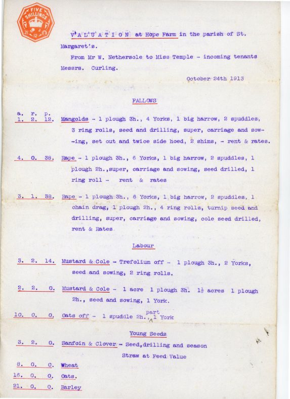 Valuation at Hope Farm 1913