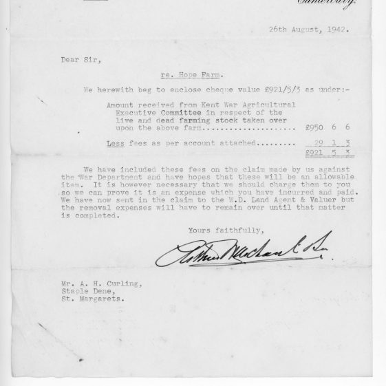Letters relating to war damage to Hope Farm and subsequent War Department compensation