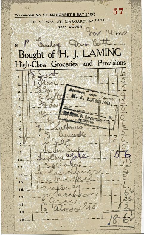 Grocery Invoice from HJ Laming The Stores High Street. 1940