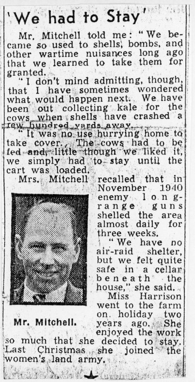 Report of the Mitchells farming under attack at Reach Court Farm during WW2