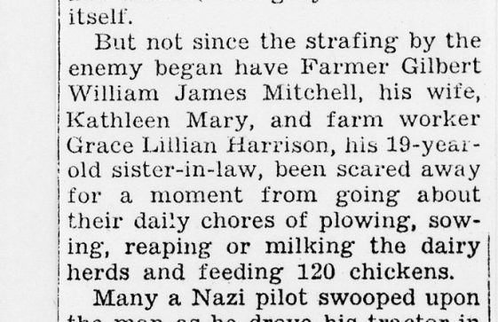 A Newspaper Report of the Mitchells and Miss Harrison Farming Under attack