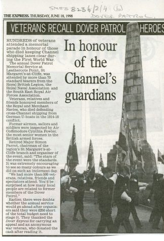 78th Dover Patrol Memorial Service and Parade Programme - 13 June 1999 and Mercury press cutting