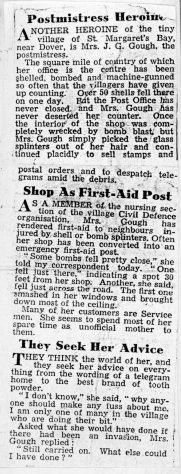 Mrs Gough serves Post Office customers throughout WW2