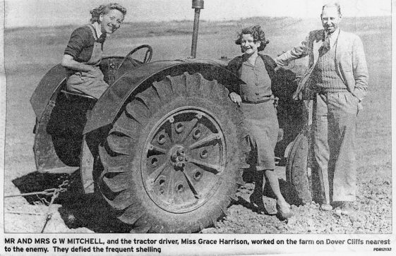 Mr and Mrs Mitchell and Miss Harrison with Tractor at Reach Court Farm. c1942