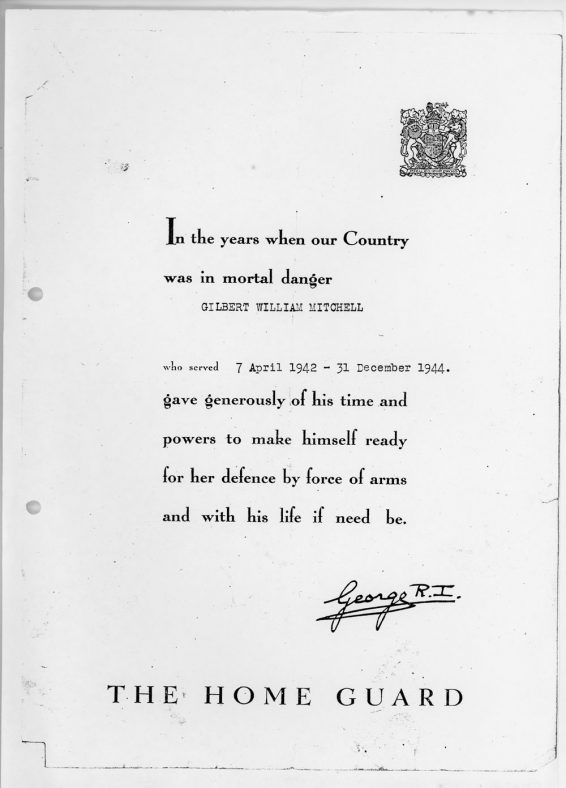 Home Guard Citation awarded to Gilbert Mitchell