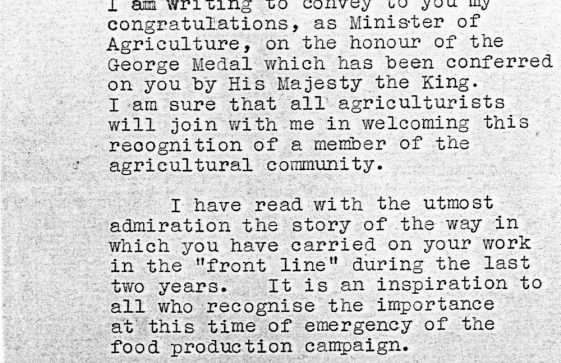 Letter from the Minister of Agriculture to Gilbert Mitchell on being awarded the George Medal
