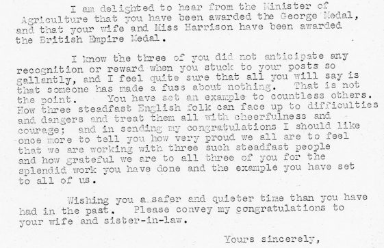 Letter to Mr Mitchell from the Chairman of the Kent War Agricultural Executive Committee. 1942