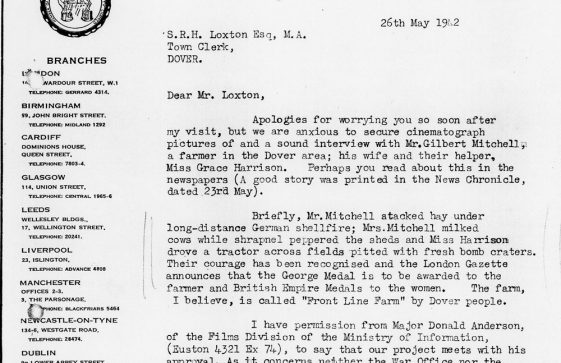 Letter from Pathe News requesting permission to film at Reach Court Farm and to interview the Mitchell family. 1942