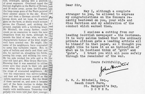Letter congratulating the Mitchells and Miss Harrison on their awards. 1942
