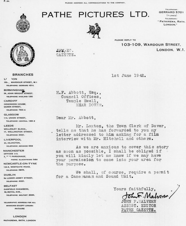 Letter requesting permission to film Reach Court Farm. 1942