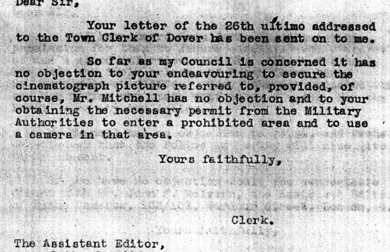 Letter from Dover RDC giving permission to film the Mitchells and Reach Court Farm. 1942