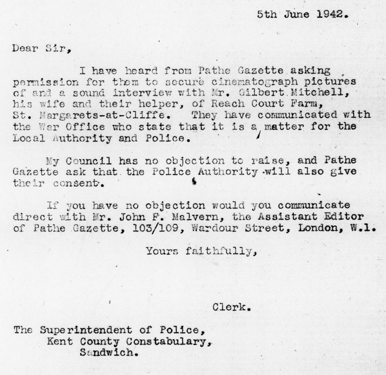 Request for Police Permission to Film the Mitchells during WW2