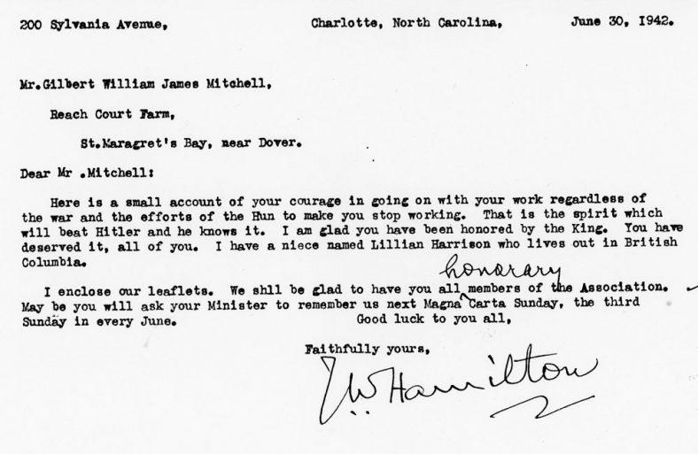 Congratulatory Letter from USA Offering Mitchells Membership of an Association