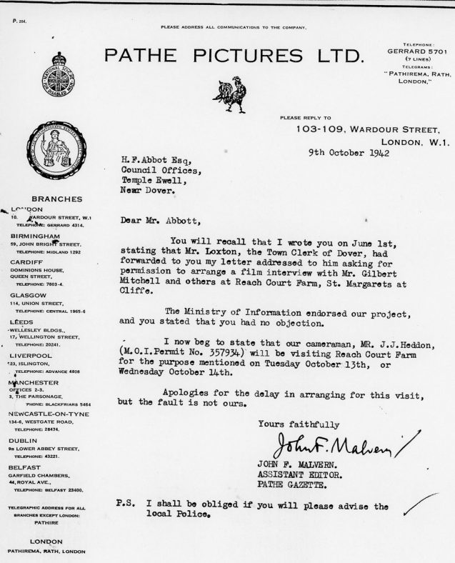 Copy of a Letter from Pathe Gazette Advising Cameramans Visit