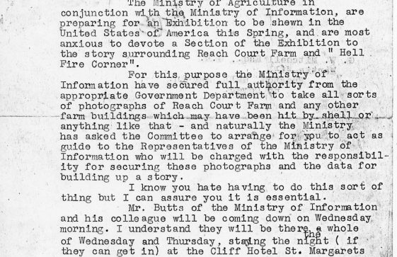 A request for Mr Mitchell to guide Ministry photographers 1943