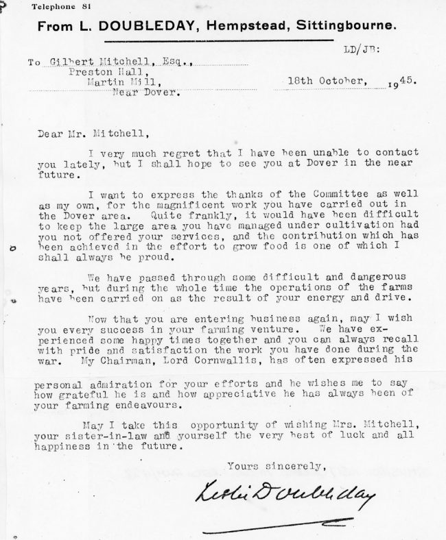 Letter of thanks from the Kent War Agricultural Executive Committee to Gilbert Mitchell. 1945