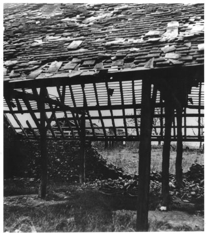 A Barn at Reach Court Farm badly damaged by enemy action. c1942