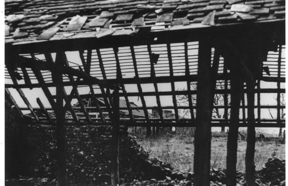Barn at Reach Court Farm badly damaged by enemy action. c1942