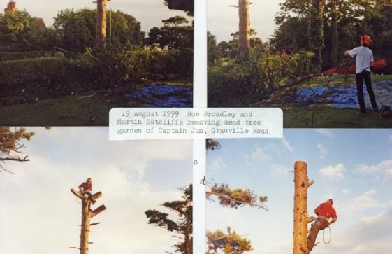 Cutting down a dead tree at Captain Jan Gramville Road 1999