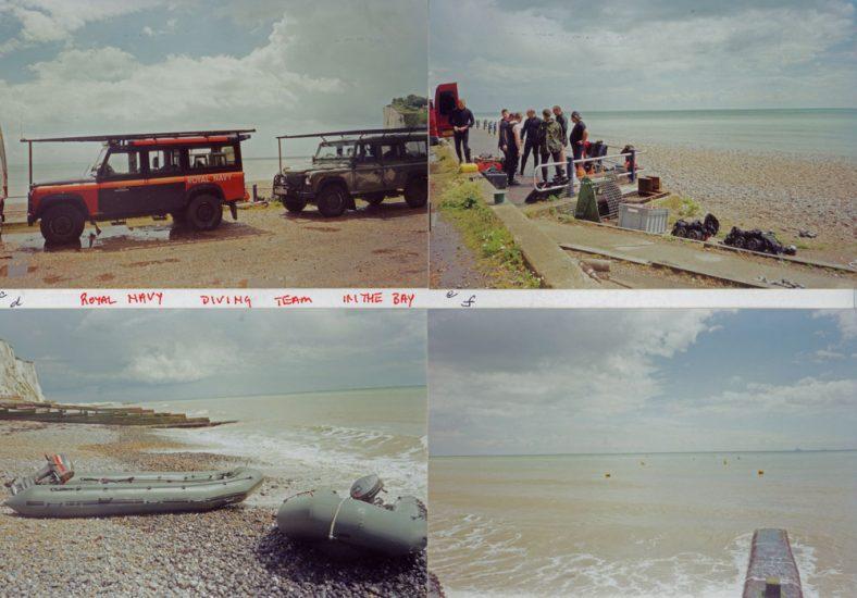 Royal Navy diving team in St Margaret's Bay. July 2000