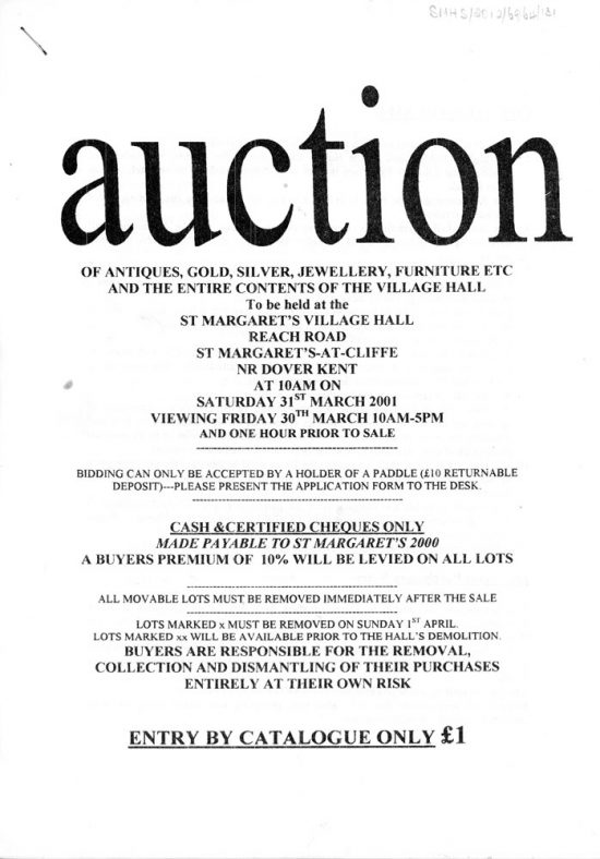 Auction catalogue for 31st March 2001 to raise funds for the new village hall